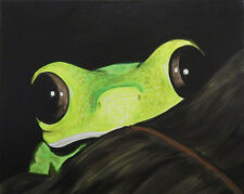 Peeking Frog by Ed Capeau 16x12 Art Print Poster Green Tree Frog Peeking