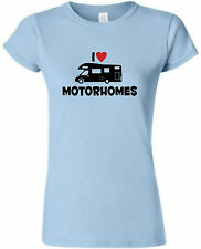 I LOVE (HEART) MOTORHOME LADIES FITTED T-SHIRT MOTORHOME TSHIRT CAMPERVAN