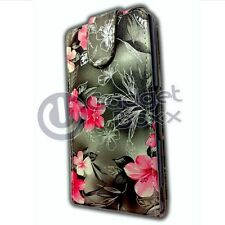 FLOWER PRINT BLACK LEATHER FLIP CASE COVER POUCH FOR SONY XPERIA Z