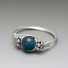 Blue Apatite Bali Sterling Silver Wire Wrapped Bead Ring