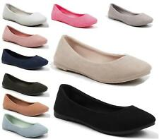 New Ladies Soft Perforated Flat Pumps Womens Ballerina Slip On Dolly Ballet Shoe