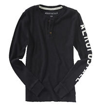 AEROPOSTALE MENS LONG SLEEVE T-SHIRT THERMAL HENLEY BUTTONS WAFFLE