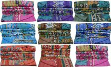 INDIAN COTTON IKAT KANTHA QUILT TWIN BEDSPREAD THROW Decorative Vintage Ethnic