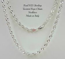 REAL 925 Sterling Silver Diamond Cut Twisted Thick ROPE CHAIN NECKLACE Italy 4MM