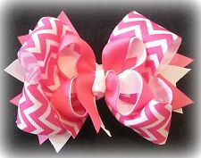 Pink White Chevron Boutique Hair Bow 3 layers of Loops Spikes Funky Hairbow Girl