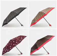 New Coach F63364 F63365 Signature Umbrella Black Smoke Vermillion Khaki NWT