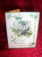 1904 ANTIQUE *VICTORIAN Holly* GERMAN XMAS Greeting Card SCENIC Emboss UNSIGNED