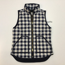 J. Crew Factory Excursion Printed Quilted Puffer Vest NWT Navy Ivory Size: XS L