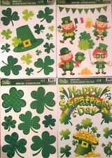 SAINT PATRICKS' DAY WINDOW CLINGS DECORATIONS  LEPRECHAUNS CLOVERS CHOOSE FROM 4