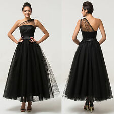 One Shoulder Bridesmaid Dresses Sexy Black Evening Prom Dress Party Formal Gowns