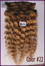 10PCS #22 Blonde Curly Wavy Clip In Real Human Hair Extension Deep Weaving Hair