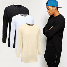 Hip hop T Shirts Long Sleeve With Side Zippers T shirt Men Oversized 100% Cotton