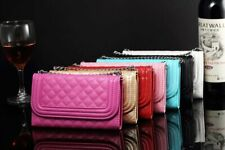 NEW DIAMOND BLING MAGNETIC WALLET PU LEATHER FLIP CASE COVER + FLOWER DUST PLUG