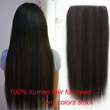 140g Deluxe Thick  5Clips One Hairpiece Clip In 100% Real Human Hair Extensions
