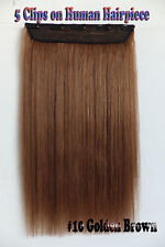 120g 5Clips One Hairpiece Remy Clip In 100%Real Human Hair Extensions #10 Brown