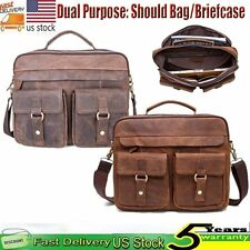 Men's Real Leather Shoulder Messenger Bag Satchel Laptop Briefcase Attache Retro