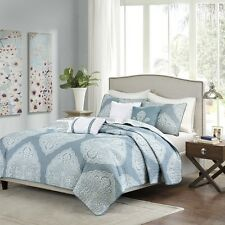 6 Piece Reversible Quilted Coverlet Set Soft Blue Pillows and Shams Included