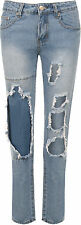 Womens Hipster Stonewashed Denim Skinny Leg Rip Trousers Pants Ladies Jeans 6-14