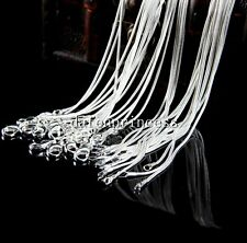 Wholesale 1-100pcs Sliver Plated Necklace Accessories Snake Chains 1MM 22inch