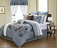 Embroidery Floral Comforter Cotton Sheets Window Panel Cal King Queen 24 pcs Set
