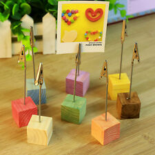 Wooden Memo Paper Note Picture Table Card Number Photo Clip Holder WH