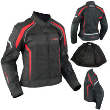 Ladies Textile Jacket Motorcycle Motorbike Armour CE Breathable Summer Red