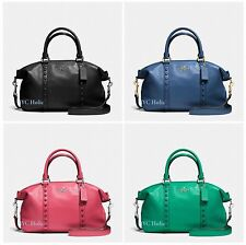New Coach F57513 Central Satchel With Enamel Stud Pebble Leather $495 MSRP NWT
