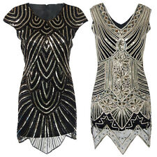 Vintage 1920s Sequin Bead Gatsby Charleston Flapper Dress Party Evening Costumes