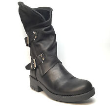 Coolway Buckled Pebble Grain Leather Buckled Boots