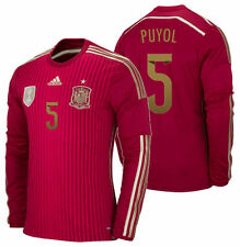 ADIDAS CARLES PUYOL SPAIN LONG SLEEVE HOME JERSEY FIFA WORLD CUP BRAZIL 2014.