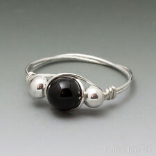 Black Onyx & Sterling Silver Wire Wrapped Bead Ring