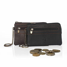 Cowhide Leather Small Wallet Card Holder Zip Vintage Coin Purse Clutch Handbag