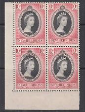 NEW HEBRIDES, 1953 Coronation, 10c., corner block of 4, mnh./lhm.