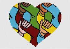 Heart Holding Hands Needlepoint Kit or Canvas (Valentine)