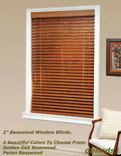 "2"" DELUXE REAL WOOD BLINDS 44 7/8"" WIDE x 24"" to 36"" LENGTHS - 2 WOOD COLORS"