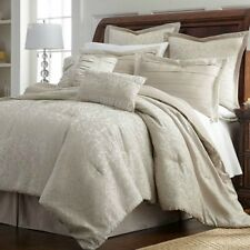 Luxurious Taupe Textured Floral Jacquard Comforter 8 pcs King Queen Bedding Set