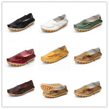 Womens Leather Loafers Shoes Flat Driving Walking Large Size Moccasin Comfort