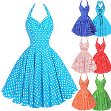 Vintage Style 50s Women Polka Dot Swing Dress HOUSEWIFE Summer Pinup Party Dress