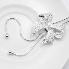 Elegant Crystal Bowknot Butterfly Pendant Necklace Rhinestone Long Chain Popular