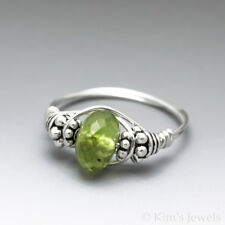 Peridot Faceted Sterling Silver Wire Wrapped Bali Bead Ring