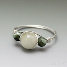Green Aquamarine & Seraphinite Sterling Silver Wire Wrapped Bead Ring