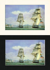 Chesapeake & Shannon Ship/Nautical/Maritime Print Cornelis de Vries A4 Cr/Bl/Wh