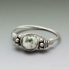 Tree Agate Bali Sterling Silver Wire Wrapped Bead Ring