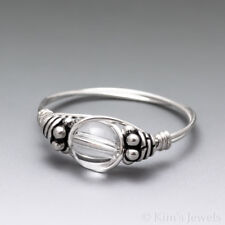 Quartz Crystal Bali Sterling Silver Wire Wrapped Bead Ring