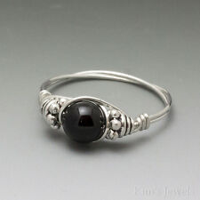 Black Onyx Bali Sterling Silver Wire Wrapped Bead Ring