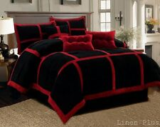 7 Piece Patchwork Red Black Micro Suede Comforter Set All SIZES AVAILABLE NEW