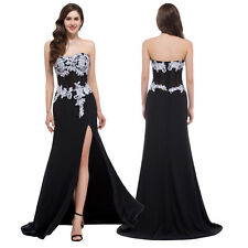 Women Sexy Side Split Lace Applique Evening Formal Pageant Dress Party Prom Gown
