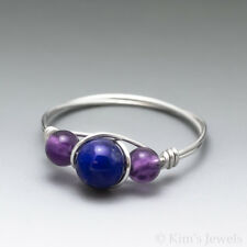 Lapis Lazuli & Amethyst Sterling Silver Wire Wrapped Bead Ring