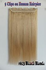 Bleach Blonde 5Clips On One Hairpieces Clip In 100% Real Human Hair Extensions