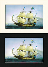 Vasa Swedish Ship/Nautical/Maritime Print Mounted Cornelis de Vries A4 Bl/Cr/Wh